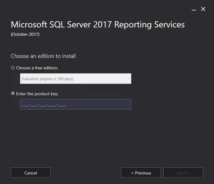 Where is the SQL Server 2017 Reporting Services License Key??